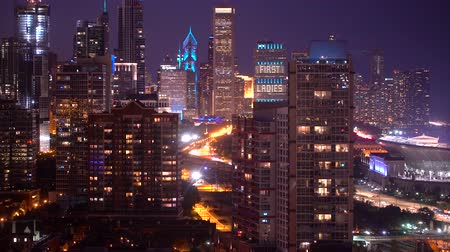 CHICAGO - SEPTEMBER 18th 2018: Downtown Chicago cityscape illuminated at night