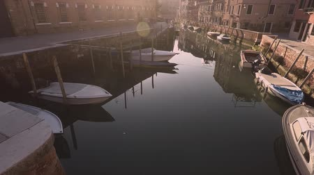 venetian lagoon : Canal in old town. Venice, Italy. Late evening