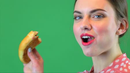 Beautiful young woman having breakfast. Chromakey