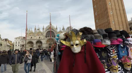 disguise : Carnival of Venice, Italy – February 2018. Venice traditional Carnival historian, appreciated and known worldwide. World Heritage. Carnevale di Venezia Stock Footage