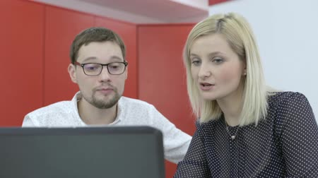 коллега : Colleagues talk about something at laptop in the office, manager and developer Стоковые видеозаписи