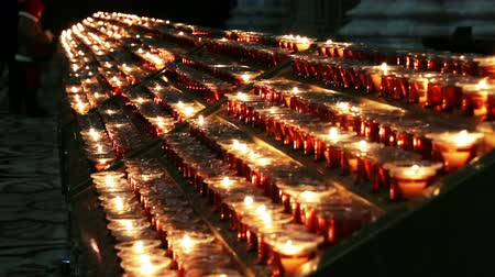 church : Burning candles. Church in Italy.