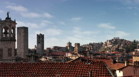 TimeLapse. Panorama of old Bergamo, Italy. Stock Footage