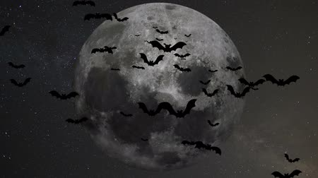 dia das bruxas : A flock of bats on the background of the moon