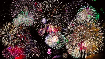 contagem regressiva : Colorful fireworks at holiday night 4k.