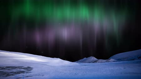 northern nature : Northern Lights aurora Borealis in the snowy mountains.