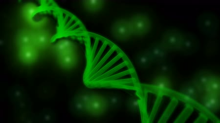 medicals : 3D semitransparent green DNA chain rotation abstract on blue background. Rotating strand of DNA.