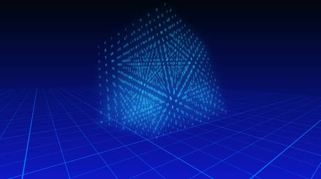 download : 3d cube of binary digits rotating on a blue background over a grid plane.
