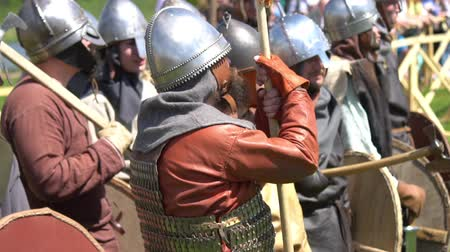 knightly : Minsk, Belarus - May 13, 2017: Festival of military historical reconstruction. Vikings rest. Stock Footage