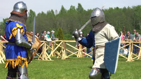 knightly : Minsk, Belarus - May 20, 2017: Battle of medieval knights. Duel.