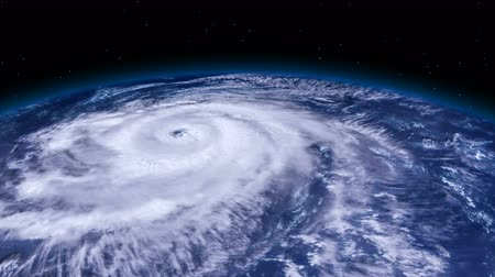 doomsday : Hurricane storm tornado over the Earth from space, satellite view.