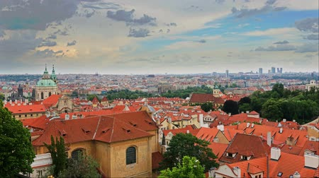 terracota : Summer aerial timelapse view of the Old Town architecture with red roofs in Prague , Czech Republic. Stock Footage