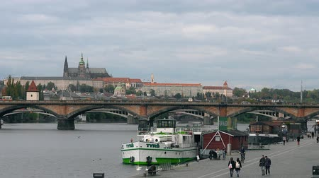 terracota : Prague, Czech Republic - OCTOBER, 2017: White Swans at bridge, Vltava river. old town panorama , swan, duck, Czech republic. Swans at bridge, Prague, Czech Republic.