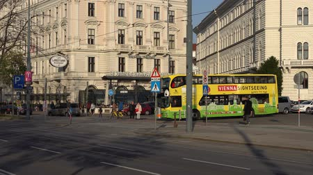 автобус : Vienna, Austria - November 2017: Tourists bus in Vienna. Vienna Wien is the capital and largest city of Austria, and one of the 9 states of Austria. Стоковые видеозаписи