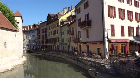 alpes : ANNECY, FRANCE - JULY 2017: View of historic Annecy city center. In the streets of Annecy. Annecy is the largest city of Haute Savoie department and is known to be called the French Venice.