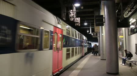 прибытие : PARIS, FRANCE - March 22, 2016:  Train in subway, Metro in Paris, France. Стоковые видеозаписи
