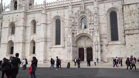 alfama : LISBON, circa 2017: Jeronimos Monastery or Hieronymites Monastery. Lisbon is continental Europes westernmost capital city and the only one along the Atlantic coast.