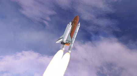 Realistic 3D Animation of Space Shuttle Launching over earths atmosphere.