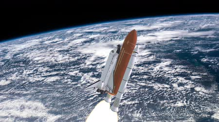 orbital : Realistic 3D Animation of Space Shuttle Launching over earths atmosphere.