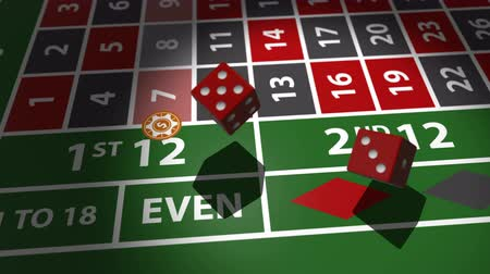 jogos de azar : Red dices falling on casino table in slow motion. Stock Footage