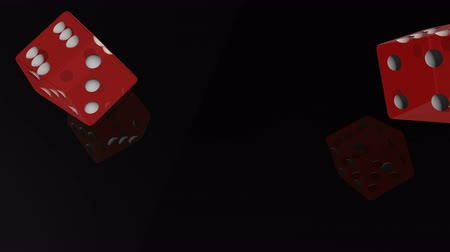 шесть : Red transparent cubes fall on the black mirror table of the casino in slow motion.
