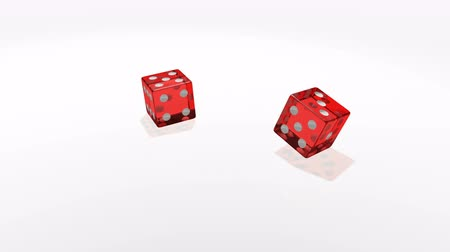 rulolar : Red transparent cubes falling on the white mirror table of the casino in slow motion.