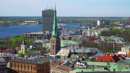 lutheran : Riga , Latvia - MAY, 2018: Aerial view of Riga. Panorama View at Riga from the tower of Saint Peters Church, Latvia.