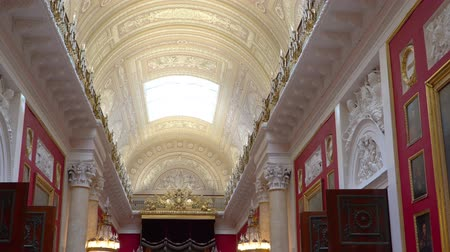 art : St. Petersburg, Peterhof, Russia, June 2018: Winter Palace. The halls of state Hermitage Museum in St. Petersburg. Hermitage Museum, is the greatest museums in the world, founded in 1764.