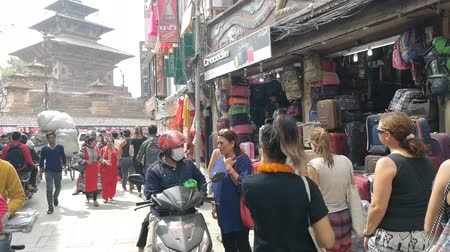 nepal : Kathmandu , Nepal - October 2018: Walking along the streets of Kathmandu, Nepal. People and traffic in Kathmandu, Nepal.
