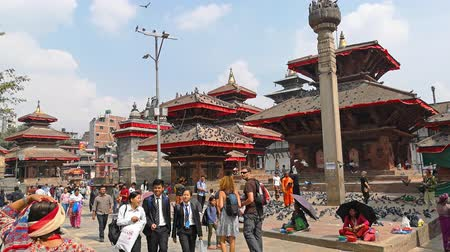 nepal : Kathmandu , Nepal - October 2018: Durbar Square in Kathmandu, Nepal. Kathmandu Durbar Square is one of three Durbar Squares in the Kathmandu in Nepal, all of which are UNESCO World Heritage Sites. Stock Footage