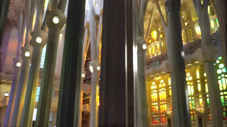 divino : Barcelona, Spain - Circa January 2019: Sagrada Familia Interior. Gaudi Temple.