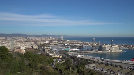 barcelone : BARCELONA, SPAIN - CIRCA 2019: Panorama of Barcelona from Montjuic hill. Barcelona skyline. Embankment and port In Barcelona, Spain.
