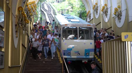 independence : KIEV, UKRAINE, September , 2018: Tourists near the funicular.