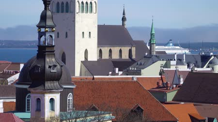 estonya : Tallinn, Estonia - MAY, 2018: Tallinn skyline, Estonia. Aerial view of Estonia. Tallinn old town, Estonia. Stok Video