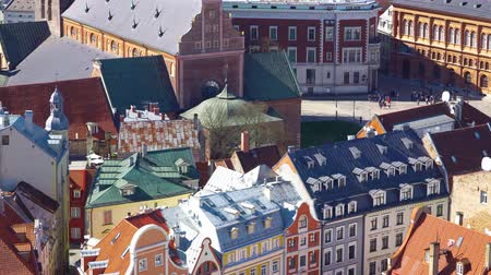 zegar : Riga , Latvia - MAY, 2018: Aerial view of Riga. Panorama View at Riga from the tower of Saint Peters Church, Latvia.