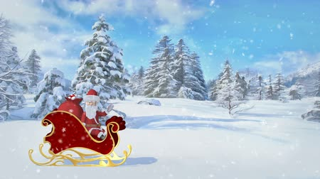 Santa Claus is riding over the forest in a sleigh with gifts. Merry Christmas and Happy New Year animation. Seamless loop.