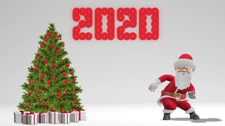 Santa Claus dancing near the Christmas tree. The concept of Christmas and New Year 2020. Seamless Loop.