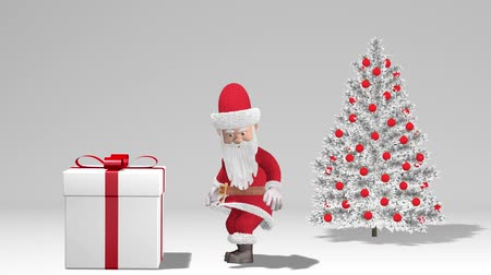 klauzule : Merry Christmas and Happy New Year 2020 animation. Santa Claus Push Gift. Santa Claus with a Christmas gift near the Christmas tree.