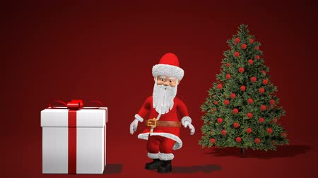 Merry Christmas and Happy New Year 2020 animation. Santa Claus with a Christmas gift near the Christmas tree. Santa Claus Push Gift.