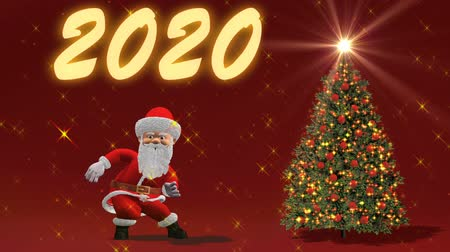 дух : Santa Claus dancing near the Christmas tree. The concept of Christmas and New Year. Seamless Loop.