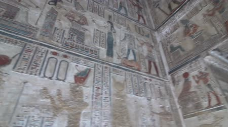 egyiptomi : Interior of Dendera temple or Temple of Hathor. Egypt. Dendera, Denderah, is a small town in Egypt. Dendera Temple complex, one of the best-preserved temple sites from ancient Upper Egypt. Stock mozgókép