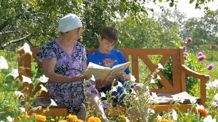 grandchild : Grandson reading a book to his grandmother. Stock Footage