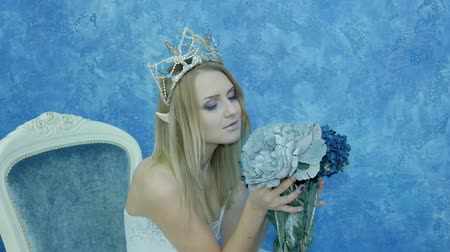 enchanted princess : Beautiful young model in the form of Elvish princess. In a white dress