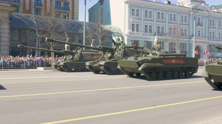 coalition : MOSCOW, RUSSIA MAY 07 2017 Military equipment moving on Tverskaya Street. Stock Footage