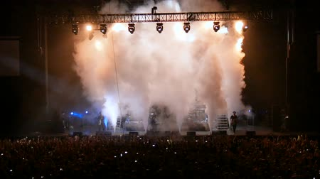 bleachers : Smoke performance at a rock concert. Stock Footage