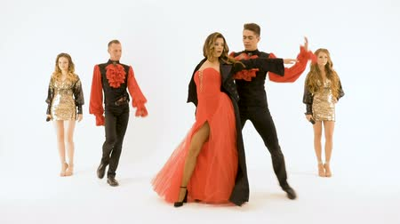 string instrument : A group of professional actors dancing on a white background. The girl singer in the red dress. Two young men in black suits dancing. Two beautiful girls with long hair singing into microphones