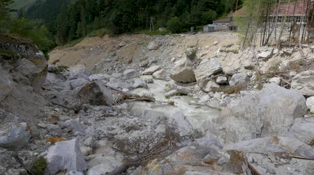 текущий : Panorama of a mountain river. Consequences of mudflow