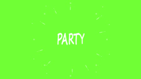 Handmade Party word doodle animation. Green screen chroma key background Wideo