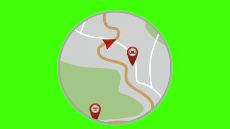 konumlandırma : GPS tracking. Navigator movement. Navigation map. Move the red marker on the map. Looped animation.