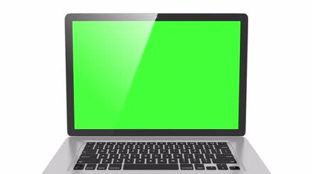 monitor počítače : isolated laptop with  Green screen, and second version with white screen Dostupné videozáznamy